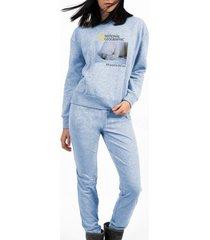 pyjama's / nachthemden admas homewear pyjamabroek met lange mouwen national geographic