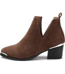tobillo con tacón cuadrado y corte marrón oscuro botas