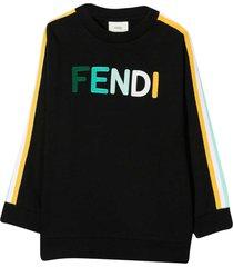 fendi black sweatshirt with multicolor applications