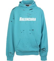 balenciaga unisex turquoise caps destroyed hoodie