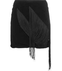 rick owens low rise fringed mini skort - black