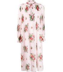 ganni cherry blossom pleated midi dress - pink
