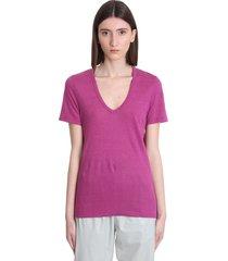 isabel marant étoile kranger t-shirt in rose-pink linen