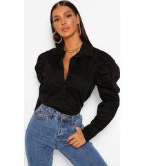 blouse met schoudervulling, zwart