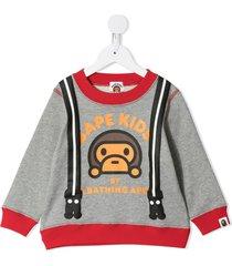 a bathing ape® milo suspenders printed sweatshirt - grey
