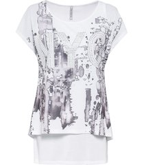 maglia lunga 2 in 1 stampata (bianco) - rainbow