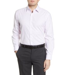 men's big & tall nordstrom men's shop traditional fit non-iron stripe stretch dress shirt, size 16.5 - 36/37 - purple