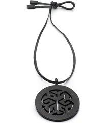 horn round necklace, women's, brown, josie natori