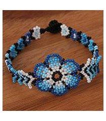 glass beaded wristband bracelet, 'blue-spined flower' (mexico)