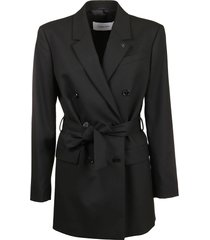 calvin klein collection blazer flannel db belted long
