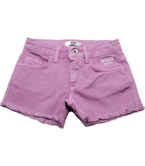 msgm denim shorts with fringes