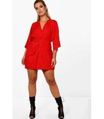 plus jurk met driekwartsmouwen en knoop detail, rood