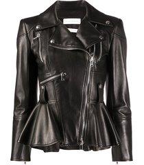 alexander mcqueen peplum hem biker jacket - black