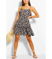 floral print strappy tiered swing dress, lilac