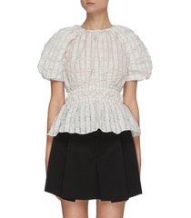 balloon sleeve gather waist blouse