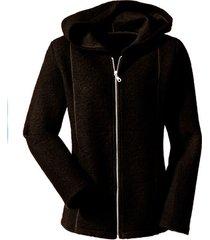 walkstof jas met capuchon, zwart 36/38
