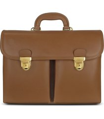l.a.p.a. designer briefcases, men's front-pocket tan brown italian leather briefcase