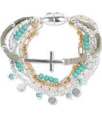 lucky brand two-tone cross charm beaded multi-row magnetic bracelet