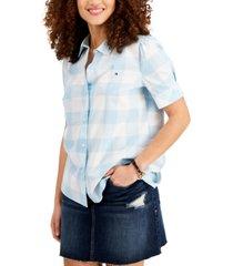 tommy hilfiger plaid puff-sleeve cotton shirt