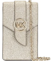 michael michael kors glitter detail smartphone crossbody bag - gold