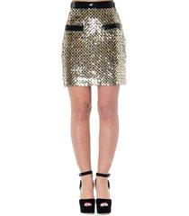 msgm gold cotton sequins short skirt