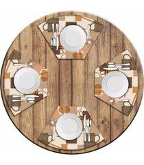jogo americano para mesa redonda wevans master café kit com 4 pçs love decor