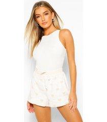 fleece pyjama broek met hartjes, cream