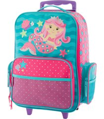 stephen joseph 18-inch rolling suitcase - blue/green
