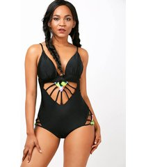 spaghetti strap hollow out one-piece women's swimwear