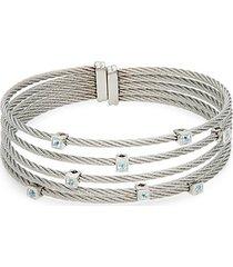 14k white gold & silvertone blue topaz cuff bracelet