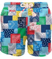 mc2 saint barth man swim shorts multicolor bandana patch all-over print
