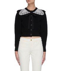 lace collar cotton wool blend cardigan