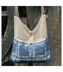 cotton batik shoulder bag, 'hmong indigo' (thailand)