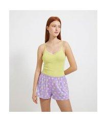 pijama com blusa de alcinha lisa e short com estampa de corações   lov   verde   g