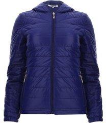 chaqueta acolchada con capota color azul, talla l