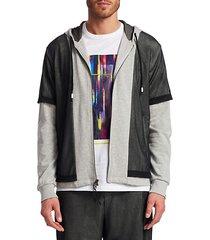mesh overlay full zip hoodie