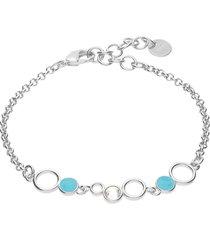 bracciale in ottone rodiato con cristalli e smalto azzurro per donna