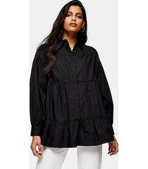 black tiered poplin shirt - black