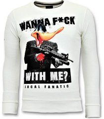 sweater local fanatic rhinestones sweater - shooting duck gun trui -