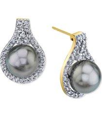 cultured tahitian pearl (9mm) & diamond (5/8 ct. t.w) stud earrings in 14k gold
