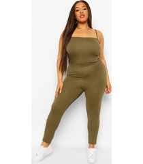 plus jersey strappy jumpsuit, khaki