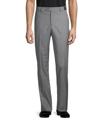 saks fifth avenue men's marzotto italian fabric-flat front wool pants - grey - size 38