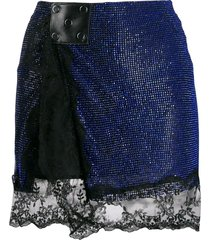christopher kane crystal mesh mini skirt - blue