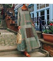 zanzea verano de las mujeres flojas ocasionales de la playa vestido señoras de kaftan maxi vestidos más el tamaño -verde