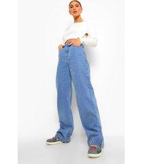 boyfriend jeans met knoop detail, mid blue