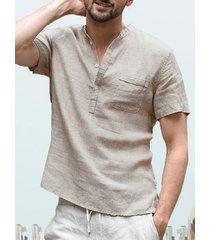 collar de pie de lino para hombre camisa