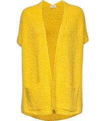 cutebay stickad tröja cardigan gul american vintage