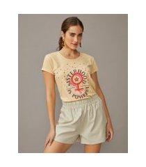 amaro feminino t-shirt silk estonado sisterhood is powerful, areia