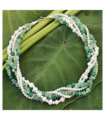 cultured pearl and aventurine torsade necklace, 'forest cloud' (thailand)