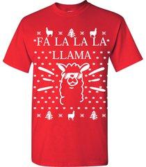 fa la la la la  llama ugly sweater design merry christmas men's tee shirt 1718